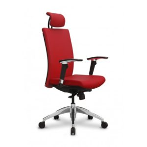 Silla roja ergonomica para oficina Aro1